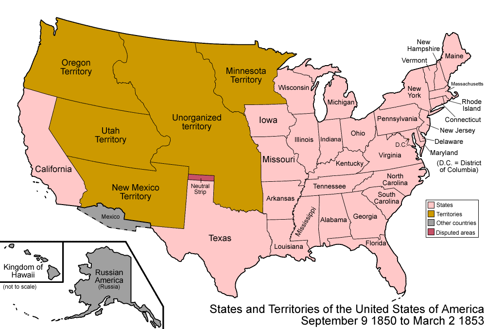 mexican war 1848 election map 1850 map 1850