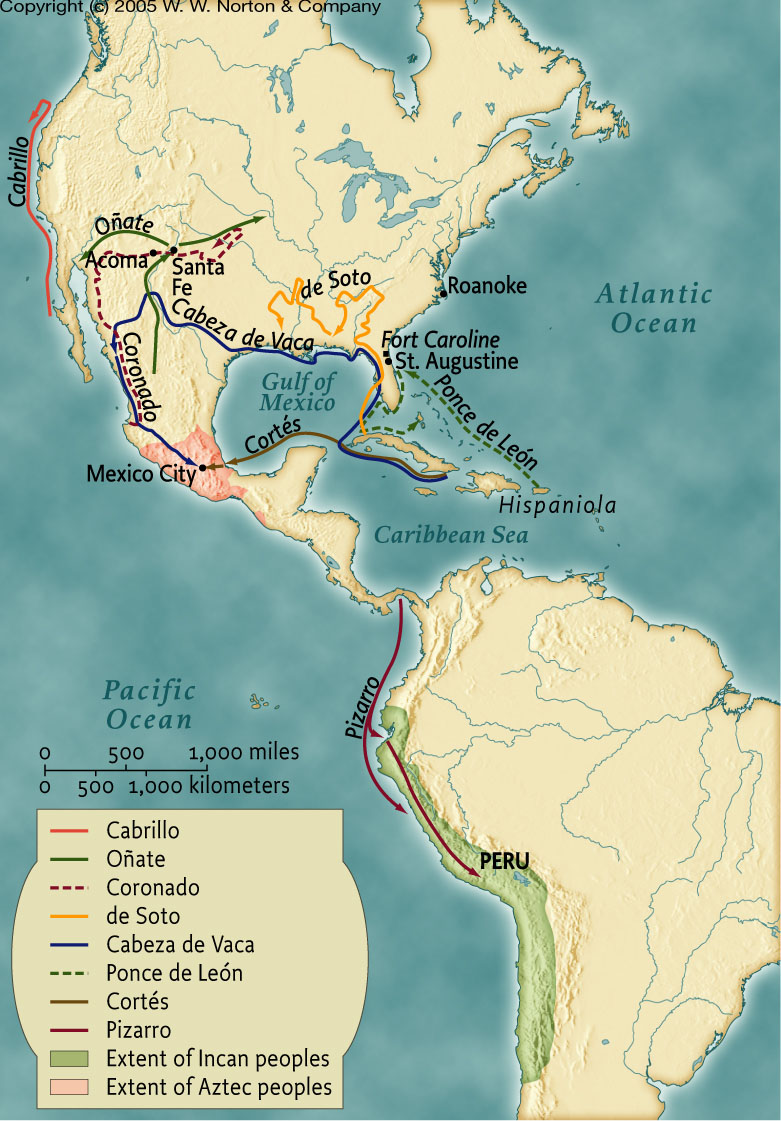 america Spanish explorers in map north