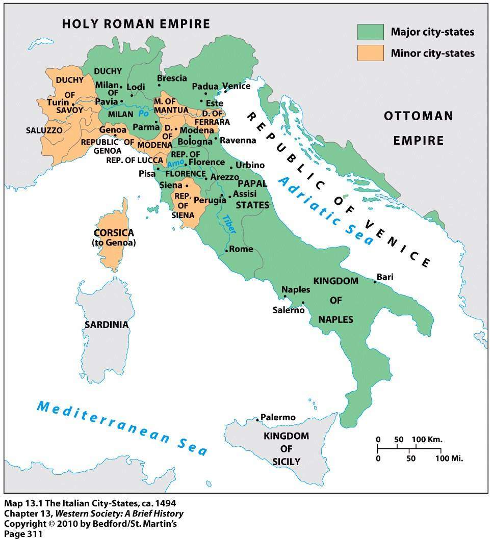 Italian Cities Map Map of Italian Cities States